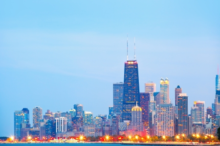 City of Chicago USA, sunset colorful panorama skyline of downtown with illuminated business buildings photo