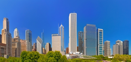 windy city: City of Chicago USA, panorama of downtown on a beautiful summer day