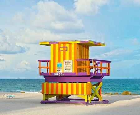 beach hut: Miami Beach Florida USA, typical Art Deco lifeguard house on a beautiful summer day