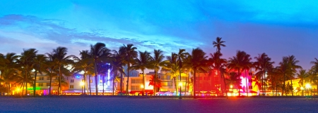 city of miami: Miami Beach, Florida  hotels and restaurants at sunset on Ocean Drive, world famous destination for its nightlife, beautiful weather and pristine beaches