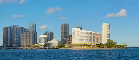 key biscayne: City of Miami, Florida cityscape of downtown  business and residential buildings on a beautiful summer day
