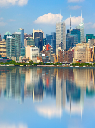 New York City USA, downtown   buildings  with reflection Stock Photo