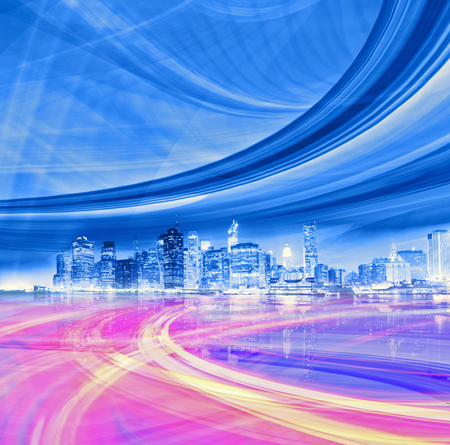 futuristic city: Abstract Illustration of an urban highway going to the modern city downtown, speed motion with colorful light trails