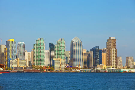 City of San Diego California, USA downtown buildings on a beautiful summer day