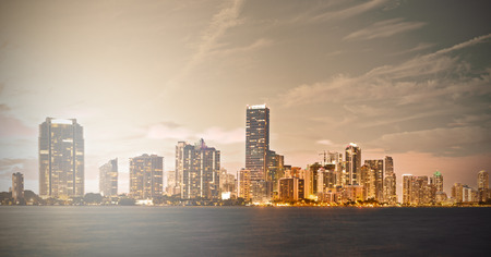 Downtown Miami Florida sunset skyline panorama with filtered desaturated instagram processing Stock Photo