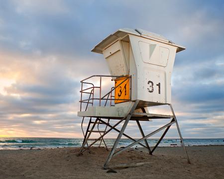 San Diego California, USA  beach lifeguard house at sunset