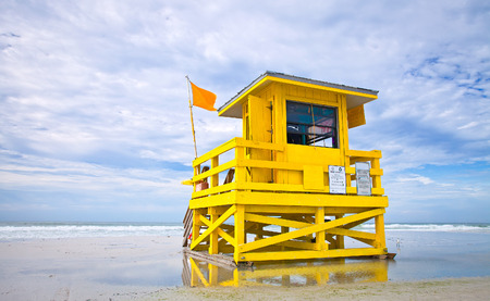florida beach: Florida beach yellow lifeguard house , Siesta Key