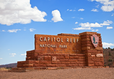 southwest usa: Capitol Reef National Park Utah, USA-September 2, 2014:Entrance sign of Capitol Reef National  park on September 2, 2014 built in the colors of the rocks typical for Southwest USA