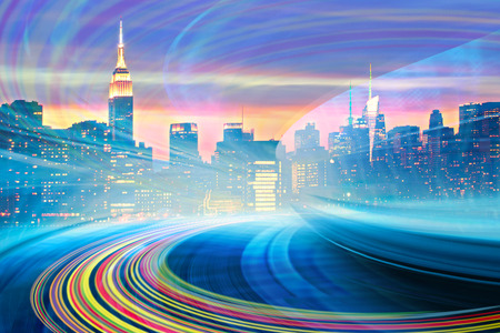leading light: Abstract Illustration of an urban highway going to the modern city downtown, speed motion with colorful light trails. Image of New York City skyline is from my collection.