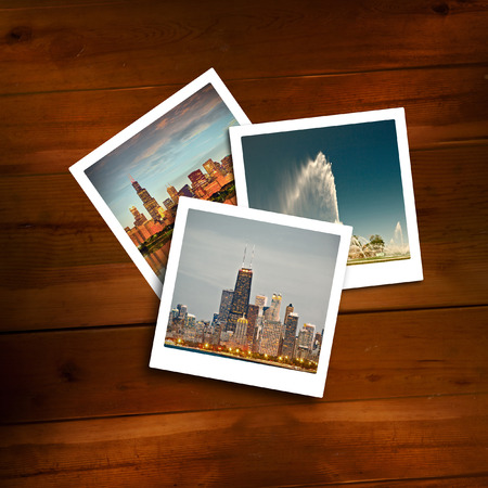 vintage photo: Vintage travel memories on a wooden background.  Stock Photo