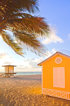 florida house: Palm trees and lifeguard house on a beautiful sunny summer afternoon in  Beach near Miami Florida with ocean and blue sky in the background Stock Photo