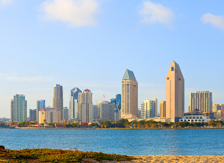 san diego: San Diego California, skyline of downtown business district on a beautiful sunny summer day Stock Photo