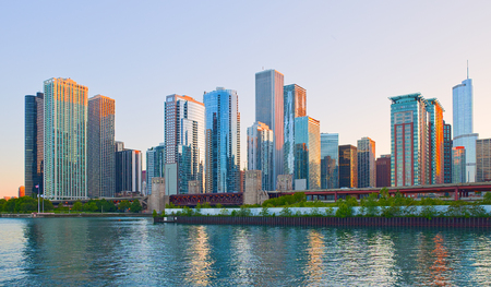 Cgicago Illinois skyline at sunset Stock Photo