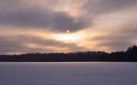 lyrical: Winter evening on lake