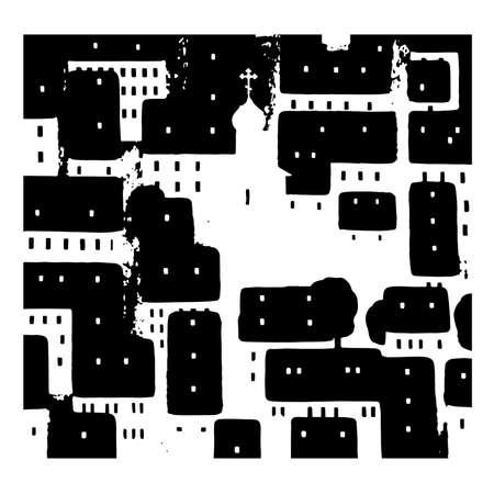 Russian city.  Vector graphic illustration illustration