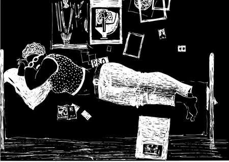 cansancio: Ni�a de descanso en la cama pintorescamente dispersa entre fotos y revistas. Los gr�ficos, dibujo a mano.