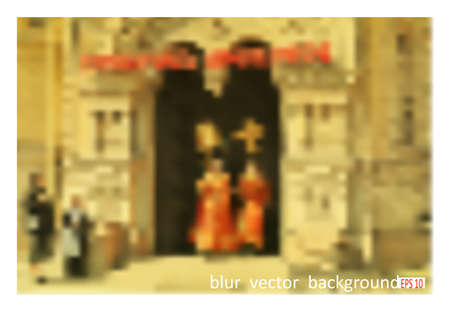 Easter procession. Blur vector background