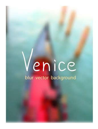 venezia: Top view of the luxurious gondola. Venetian blur background. Illustration