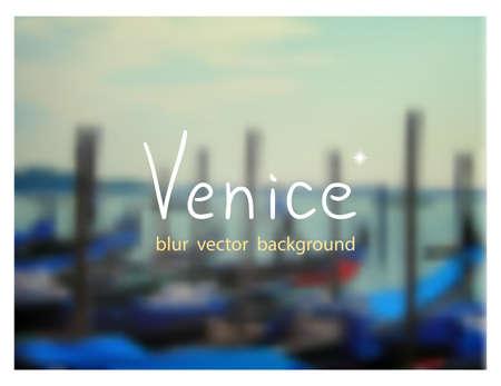venezia: Gondolas on the dock at San Marco square. Venetian blur background. Illustration