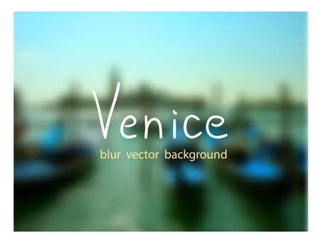 dock: Gondolas on the dock at San Marco square. Venetian blur background. Illustration