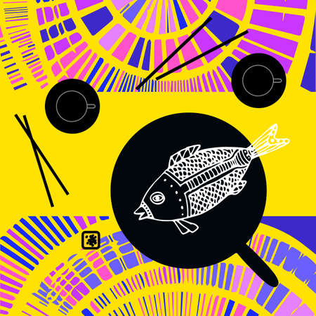 fried fish: Japanese still life with fried fish, chopsticks and tea pairs on the bright decorative background. Flat design.