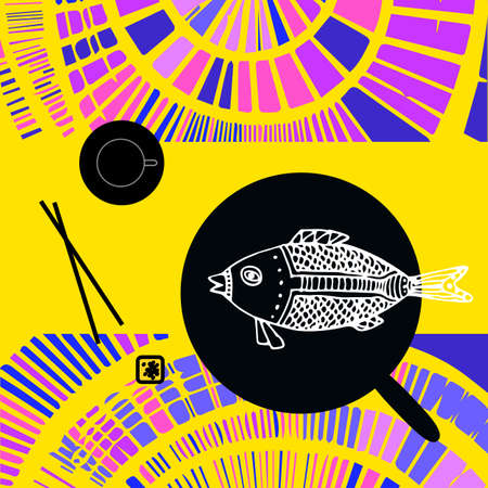 pairs: Japanese still life with fried fish, chopsticks and tea pairs on the bright decorative background. Flat design.
