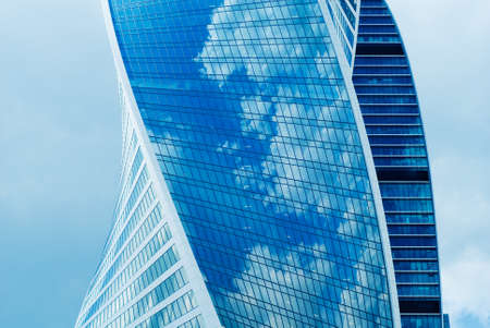 New majestic buildings modern business center Moscow-city. Multifunction complex Evolution. Russia, Moscow Stock Photo