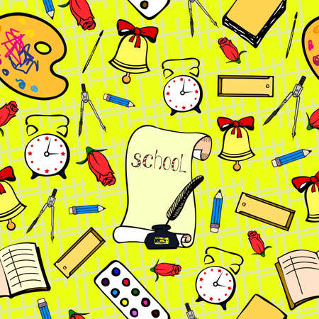 lineart: School background with accessories schoolboy. Seamless pattern hand lineart Illustration
