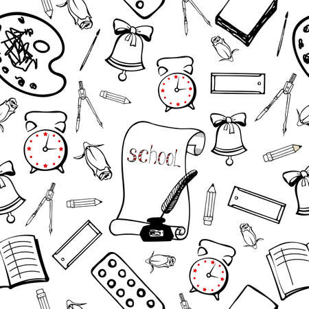 beginning school year: School background with accessories schoolboy. Seamless pattern hand lineart Illustration