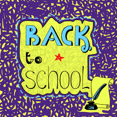 september 1: Background with handwritten inscription Back to school. Hand draw Illustration
