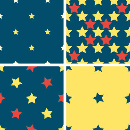 estrellas cinco puntas: Set of 4 color geometric seamless pattern with five-pointed stars. Red, blue, yellow Vectores
