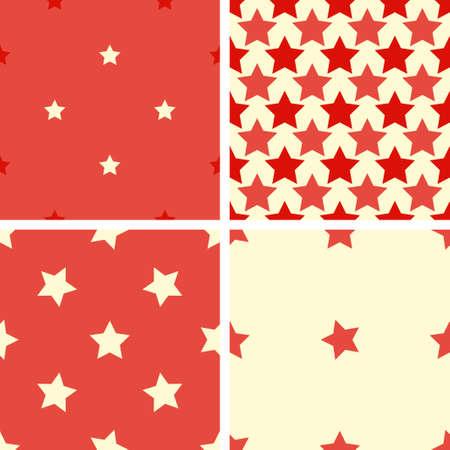 estrellas cinco puntas: Conjunto de 4 colores sin fisuras patrón geométrico con estrellas de cinco puntas. Rojo, beige