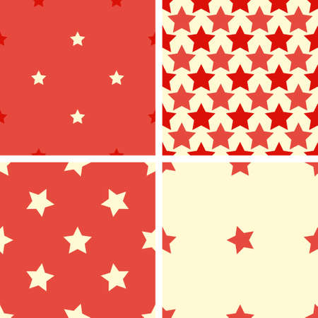 estrellas cinco puntas: Set of 4 color geometric seamless pattern with five-pointed stars. Red, beige