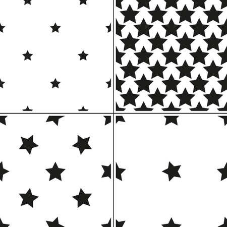 estrellas cinco puntas: Conjunto de 4 monocromo patrón transparente geométrica con estrellas de cinco puntas