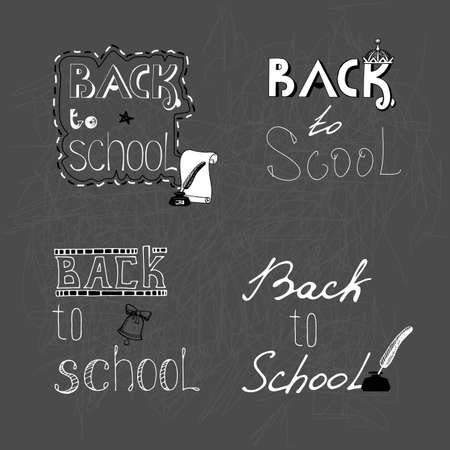 beginning school year: Set of 4 monochrome handwritten inscription Back to school with elements for design. Vector hand draw Illustration