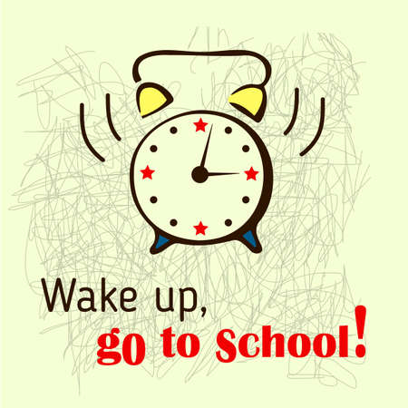 september 1: School background with ringing school bell. Vector illustration.
