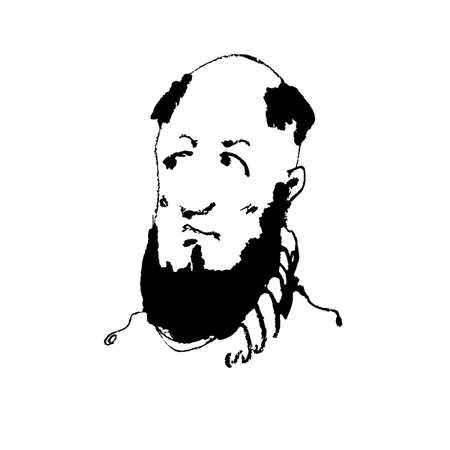 beholder: Portrait of bald man with beard, looking thoughtfully to the side. Hang drawing