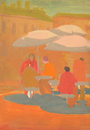 illustration and painting: Street cafe with sitting visitors. Tempera painting, artwork.