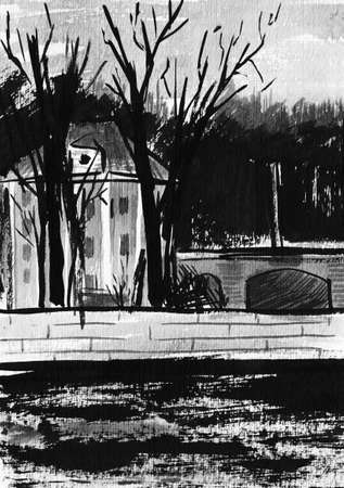 parapet wall: The house on the embankment. Drawing ink and brush. Stock Photo