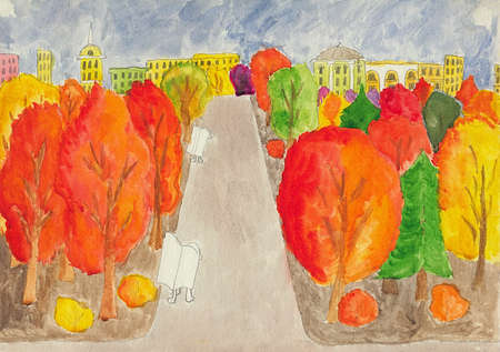 walking path: Romantic view of city park in autumn. Children watercolor and pencil drawing