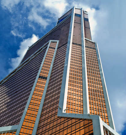 RUSSIA, MOSCOW - JULY 09, 2015: Skyscraper Moscow International Business Center of Moscow-city closeup