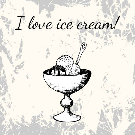 grey backgrounds: Balls of ice cream in cup for dessert. Hand drawing in vintage style on grunge background Illustration