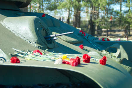 t34: Famous course gun of t-34 during second world war close up at the exhibition of military equipment in the victory day