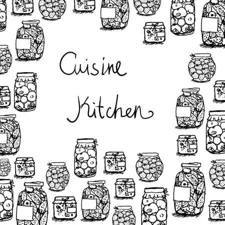 Carte postale sur le thème de la cuisine, en conserve de tomates et concombres, de la confiture, de la nourriture saine, la nourriture végétarienne, dessin à la main linéaire, croquis linéaire