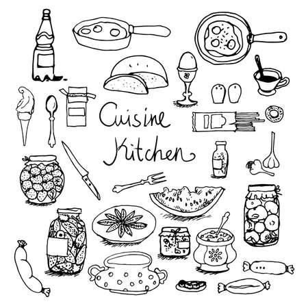 garlic bread: Kitchen set hand-drawn line sketches food, dishes, cooking
