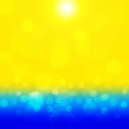glisten: Summer background with bokeh. Sea and sand glisten in the sun