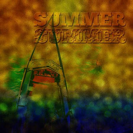 darken: Summer vacation background darken, summer background abstract with italian gondola Stock Photo
