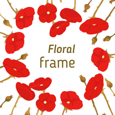 poppies: Floral frame of red poppies, blooming poppies, vector illustration