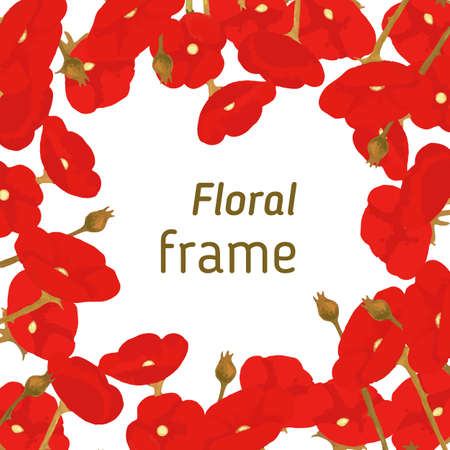 ベクトル図、赤い咲くポピーの花のフレーム  イラスト・ベクター素材