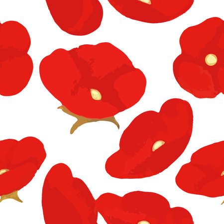 blooming: Blooming poppies seamless pattern vector illustration Illustration